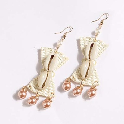 Summerys 手作りの籐誇張されたイヤリングNatural Conch Earrings (Color : Champagne)