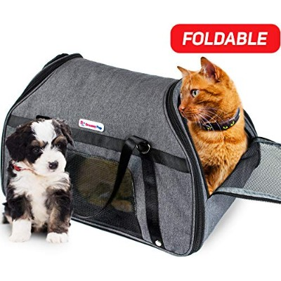 DreamyPup Best Soft Pet Carrier for Small Dogs and Cats (Airline Approved) Expandable Bag w...