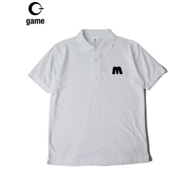 """GAME (ゲーム)/ """"M PATCH"""" POLO SHIRTS white ポロシャツ 白 ホワイト"""