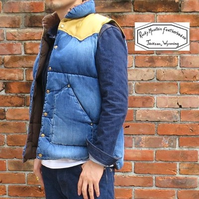 【★】2019FW☆ RANCH DOWN VEST / DENIM生地【 神戸 正規店 】ボア無し☆ Rocky Mountain Featherbed ロッキーマウンテンフェザーベッド...