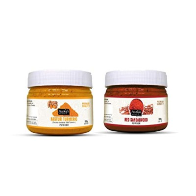 Combo Offer of Kasturi turmeric powder 100gm + Red sandalwood powder 100gm - For Natural and...