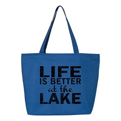 shop4ever Life Is Better At The LakeブラックHeavy Canvas Tote with Zipper Sayings再利用可能なショッピングバッグ12 oz...