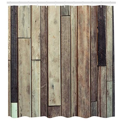 (180cm W By 210cm L, Multi 26) - Wooden Shower Curtain Set by Ambesonne, Antique Old Planks...