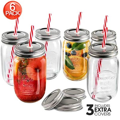 Mastertop 6 Pcs Mason Drinking Jars with Lids 100% Recycled Glass Wide Mouth Bottles and Straws...