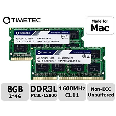 Timetec Hynix IC 8GB (4GB x 2枚) Mac用 DDR3L 1600 MHz PC3L 12800 SODIMM Apple専用増設メモリ 永久保証 (4GB x 2枚)