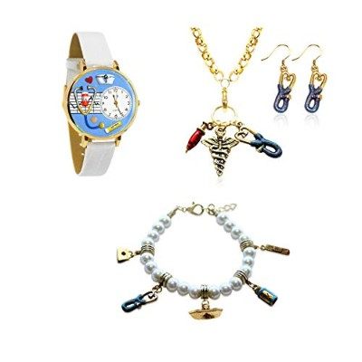 (Nurse Gold) - Whimsical Gifts Profession 4-piece Jewellery Sets