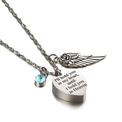 ZARABE Cremation UrnジュエリーHold You In My HeartまでHeaven記念品Memorial刻印ネックレス シルバー