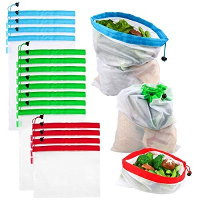 Reusable Produce Bags, VERONES Reusable Mesh Bags 16 Pack Washable Eco Friendly Bags with Tare...