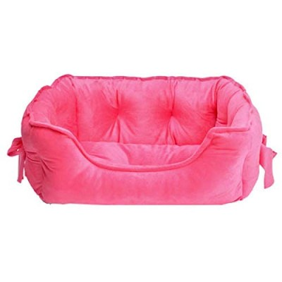 3Colors Bow Princess Pet Dog Bed Soft Fleece Cat House Winter Warm Small Puppy Bed For Chihuahua M...