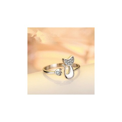 【送料無料】猫 キャット リング small leopard cat animal open ring contracted female