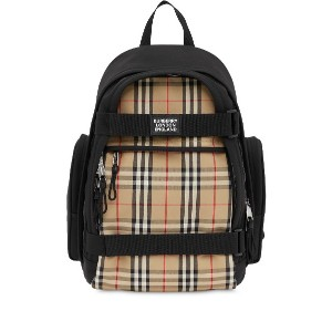 Burberry Nevis Vintage Check panel backpack - ブラック