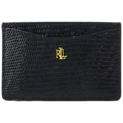 ラルフ ローレン LAUREN Ralph Lauren レディース カードケース・名刺入れ 【Lizard Embossed Slim Card Case Medium】Black