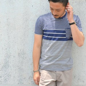 FLISTFIA(フリストフィア)/Pocket T-Shirts -Navy x Off White-【Z】