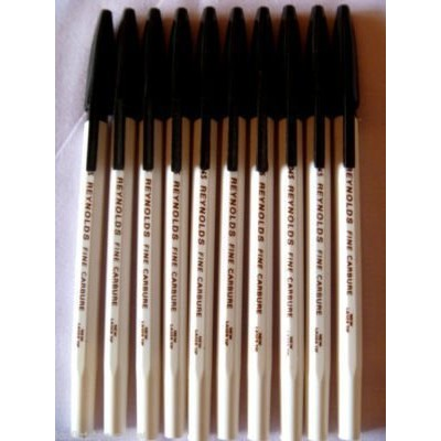 10 Pens Reynolds 045 Fine Carbure Ball Point Pen 0.45 Mm Tip BLACK Brand ADD By Indian Cricketer...