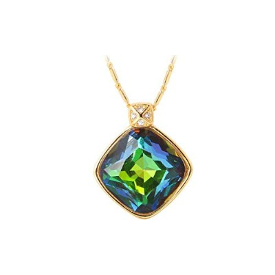 Green Crystal Charm Gold Color Synthetic Emerald Pendant Necklace [並行輸入品]
