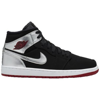 (取寄)ジョーダン メンズ AJ 1 ミッド Jordan Men's AJ 1 Mid Black Gym Red Metallic Silver White