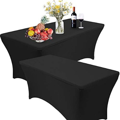 (1.2m, Black) - Reliancer 2 Pack 4 6 2.4m Rectangular Spandex Table Cover Four-Way Tight Fitted...