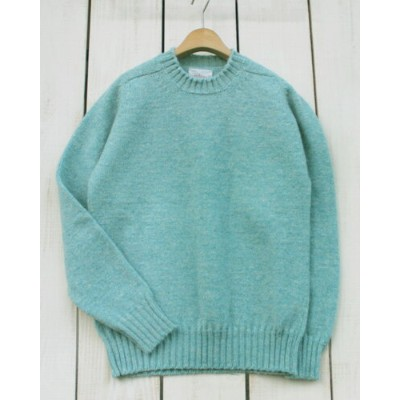 Jamieson's Plain Saddle Shoulder Crew sweater 3ply wool Surf / 135 made in scotland ジャミーソンズ サドル...