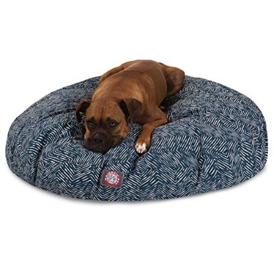 Majestic Pet Navy Blue Native Large Round Indoor Outdoor Pet Dog Bed with Removable Washable Cover...