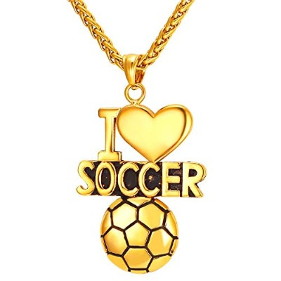 """Gold Color Stainless Steel""""I Love Soccer"""" Ball Pendant Necklace"""
