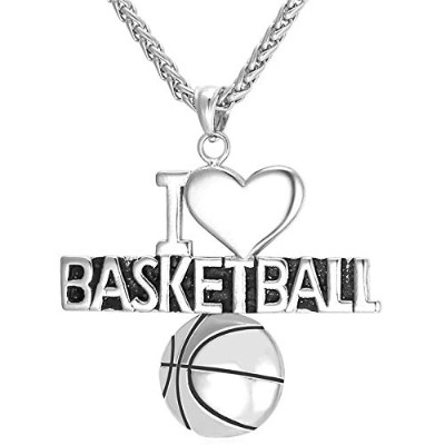 "Silver Color Stainless Steel""I Love Basketball"" Pendant Necklace"