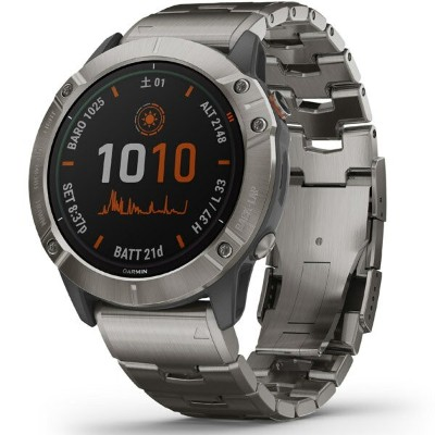GARMIN(ガーミン) fenix 6X Pro Dual Power Ti Gray Titanium band 010-02157-5A Gray (010021575A)
