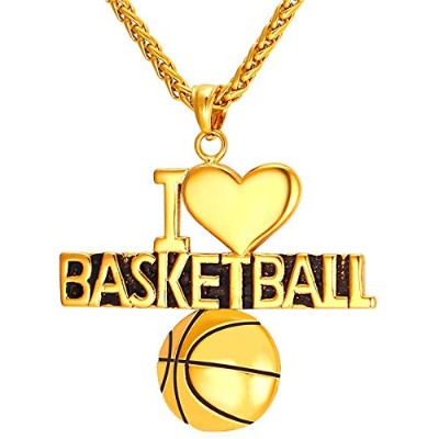 "Gold Color Stainless Steel""I Love Basketball"" Pendant Necklace"