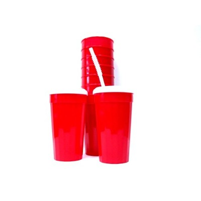 24 Large 32オンスレッドFluted Tumblers Lidsストロー