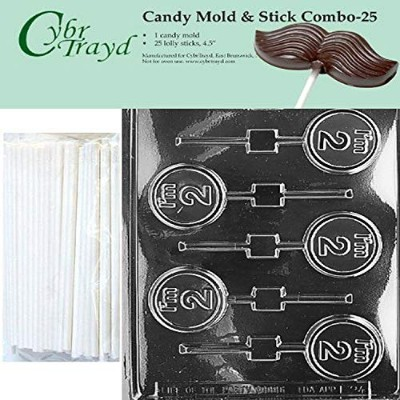 Cybrtrayd 45St25-L024 I'm 2 Lolly Chocolate Candy Mould with 25 Cybrtrayd 11cm Lollipop Sticks