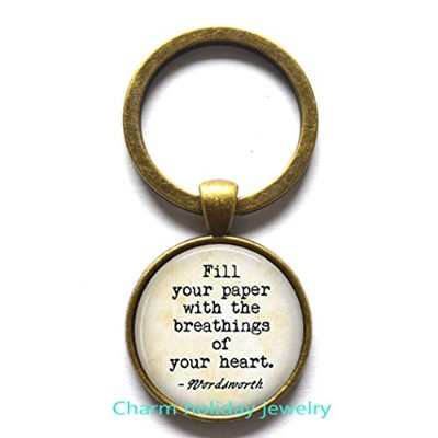 """"""" Fill Your用紙のBreathings with your heart。」Quoteキーチェーン、Book Loverキーチェーン、キーチェーンBookキーチェーン、ブック、引用キーチェーン"""