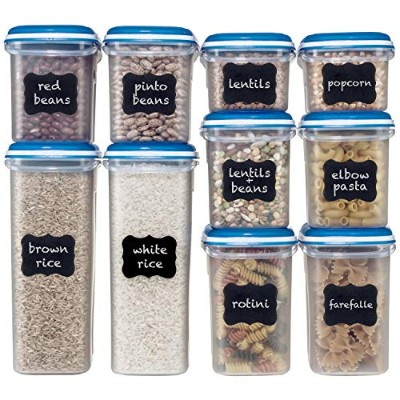 Shazo Food Storage Containers 20-Piece Set - Airtight Dry Food Container w/Innovative Dual Utility...