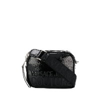 Versace Jeans Couture textured style logo print shoulder bag - ブラック