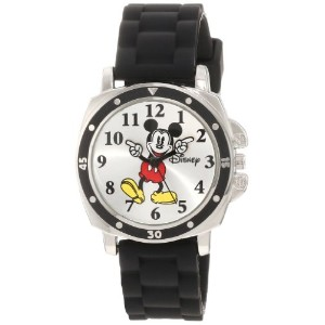 Disney Mickey Mouse ディズニー ミッキーマウス キッズ腕時計 Kids' MK1080 Mickey Mouse Black Rubber Strap Watch