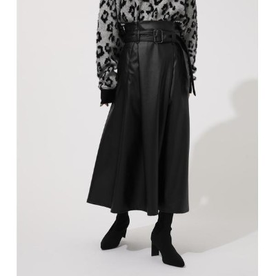 ECO LEATHER FLARE SKIRT/アズールバイマウジー
