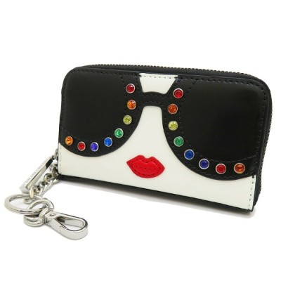 【alice+olivia/アリスオリビア】 65_1_65203102504 AVRIL STACEFACE カードケース 羊革 STACEY FACE(黒/白) レディース【中古】【真子質店】...