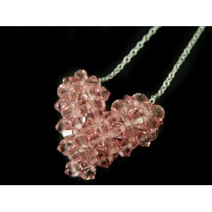 Pink Swarovski Elements Aurore Boreale Heart Pendantハート・スワロフスキー・シルバーチェーンペンダント・ピンク(BP)ギフト・プレゼント...