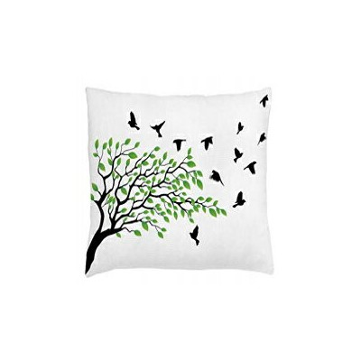 Ambesonne Birds Throw Pillow Cushion Cover, Spring Tree wi