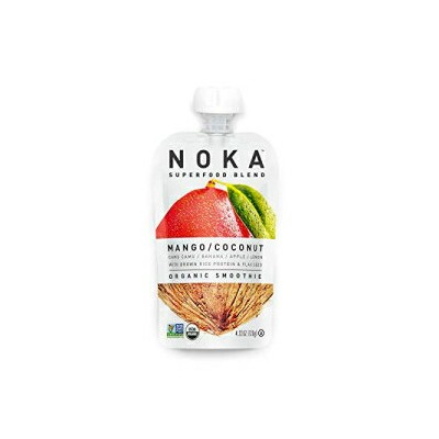 NOKA Superfood Pouches (Mango Coconut) | 100% Organic Fruit And Veggie Smoothie Squeeze Packs | No...
