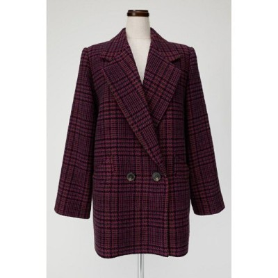 MOUSSY MIDDLELENGTHCHECKコート マウジー コート/ジャケット コート/ジャケットその他 ピンク【送料無料】