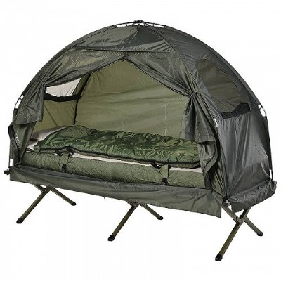 Outsunny Portable Camping Cot Tent with Air Mattress Sleeping Bag and Pillow キャンプ コット 簡易ベッド【送料無料】...