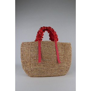 LUDLOW(Women)/ラドロー  Grape handle tote Raffia Coral【三越伊勢丹/公式】 バッグ~~かごバッグ