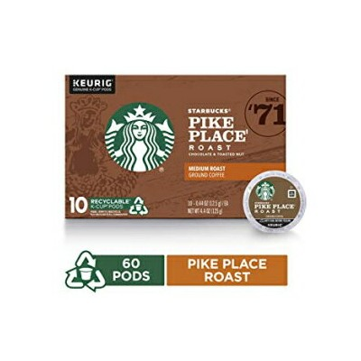 60 Count, Pike Place, Starbucks Pike Place Roast Medium Roast Single Cup Coffee for Keurig Brewers, 6 Boxes Of 10 (60 Total K Cup Pods)
