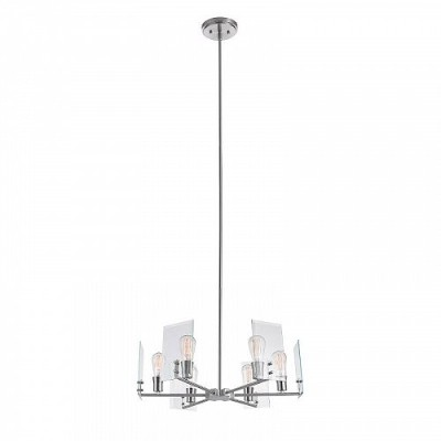 Globe Electric Cleve 6-Light Brushed Nickel Chandelier with Clear Beveled Glass Panes 60369 おしゃれ...
