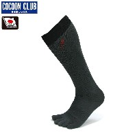 COCOON CLUB〔ソックス〕 Five Toes & Stress Free Socks CS-7L/チャコール×ブラック
