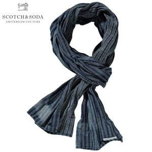 【15%OFFセール 2/16 10:00~2/20 9:59】 スコッチアンドソーダ SCOTCH&SODA 正規販売店 メンズ スカーフ Patterned scarf with overdye and bleach effects 70307 B