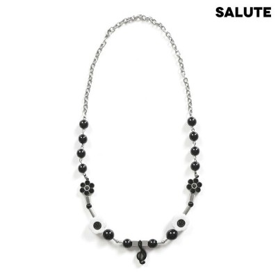 SALUTE サルーテ FLOWER ANARCHY NECKLACE X SHANE GONZALES - BLACK ネックレス ブラック
