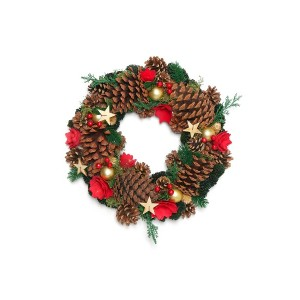 【28%OFF】クリスマスリース Wreath-Large Pine & Champagne Bell Star M
