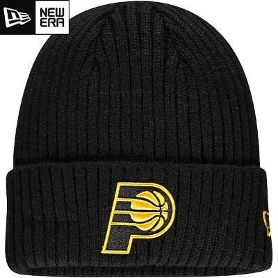 NBA Black on Black ニットキャップ ペイサーズ New Era Indiana Pacers Core Classic Black on Black Cuffed Knit Cap