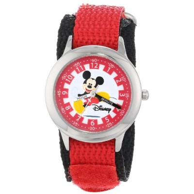 ディズニー 腕時計 キッズ 時計 子供用 ミッキー Disney Kids' W000018 Mickey Mouse Stainless Steel Time Teacher Watch