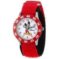 "ディズニー 腕時計 キッズ 時計 子供用 ミッキー Disney Kids' W000229 ""Mickey Mouse"" Stainless Steel Time Teacher Watch"